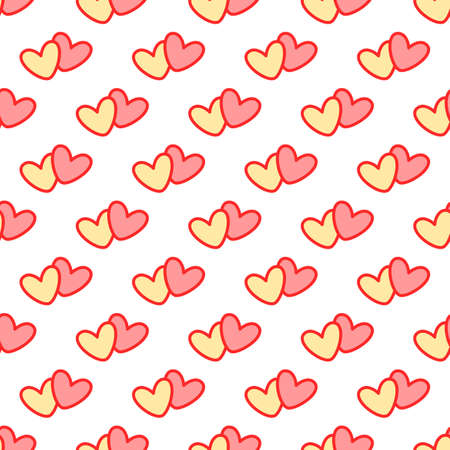 Cute pair of hearts. Seamless vector pattern