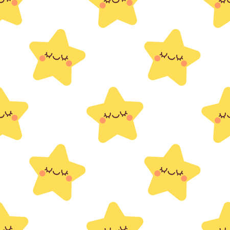 Cute star with closed eyes. Seamless vector pattern
