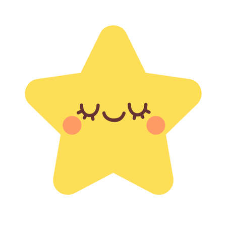 Cute star with closed eyes. Vector illustration isolated on white background