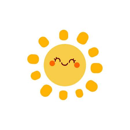 Cute happy sun. Cartoon vector illustration isolated on white background Иллюстрация