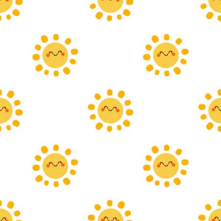Cute happy sun. Cartoon vector illustration. Seamless vector pattern