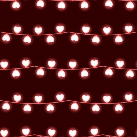 Heart garland. Light bulbs. Seamless vector pattern Иллюстрация