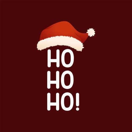 Hohoho text with Santa Claus Christmas cap. Vector illustration Иллюстрация