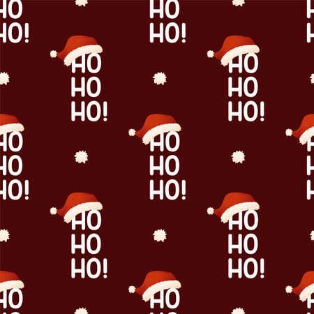 Hohoho text with Santa Claus Christmas cap. Seamless vector pattern