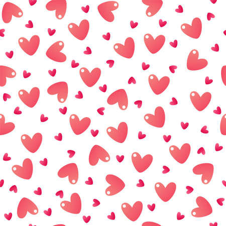 Cute hearts. Seamless vector pattern isolated on white background Иллюстрация