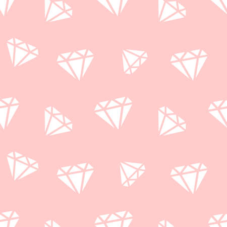 Pattern with gems. Pink cute seamless vector pattern Иллюстрация