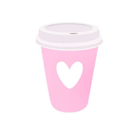 Pink coffee cup with heart. Vector illustration isolated on white background