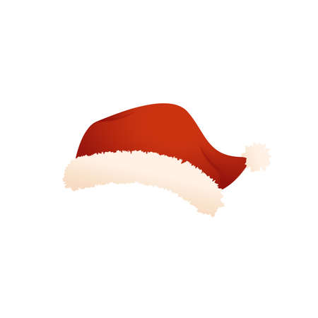 Santa cap. Vector illustration isolated on white background
