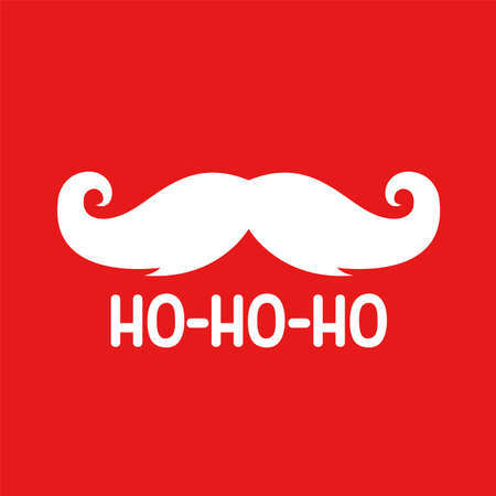 Santas Moustache with hohoho text. Vector illustration Vectores