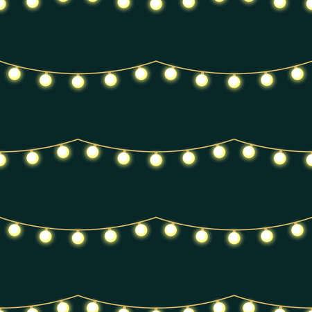 Seamless pattern with garland. Light bulbs. Vector illustration