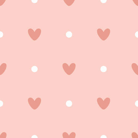 Simple pattern with hearts and dots. Seamless vector illustration Vectores