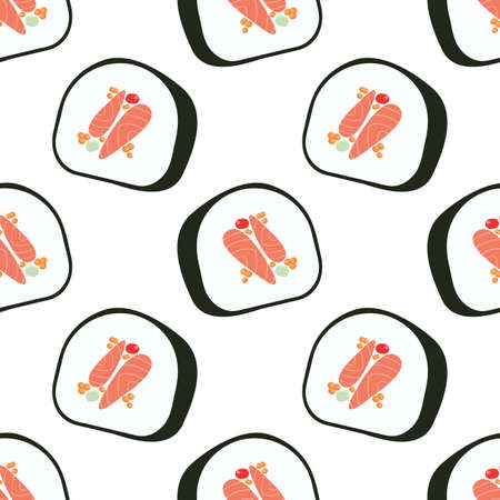 Sushi roll with tune. Cartoon seamless vector pattern