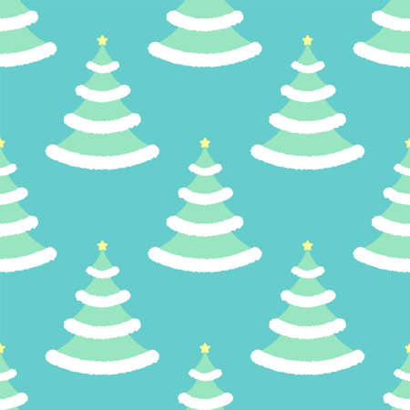 Winter christmas tree with star. Seamless vector pattern