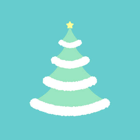 Winter christmas tree with star. Vector illustration. Vectores