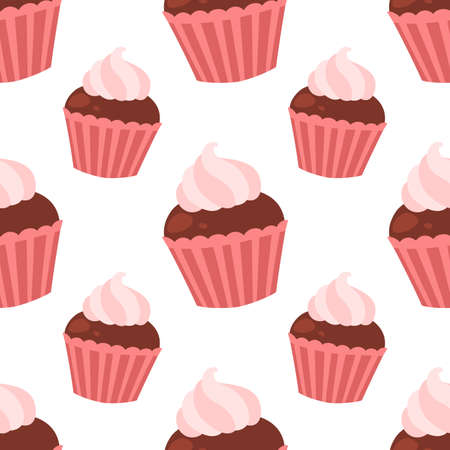 Chocolate muffin. Seamless vector pattern isolated on white background