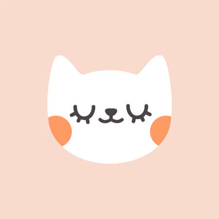 Cute cat with closed eyes. Cartoon vector illustration