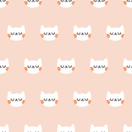 Cute cat with closed eyes. Seamless vector pattern