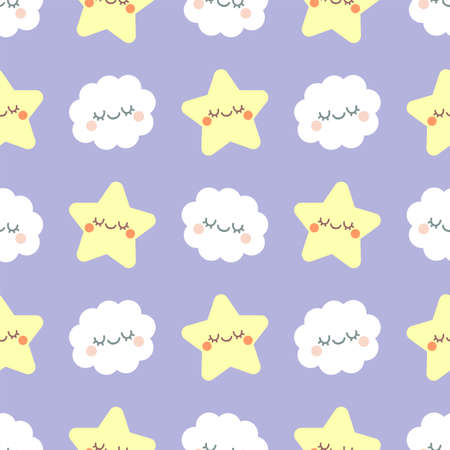 Cute cloud and star with closed eyes. Seamless vector pattern