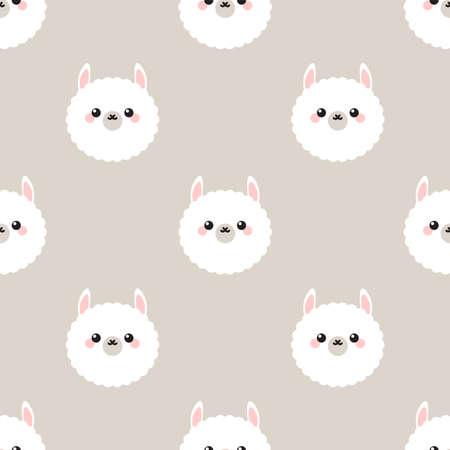Cute lama happy face Seamless vector pattern Vectores