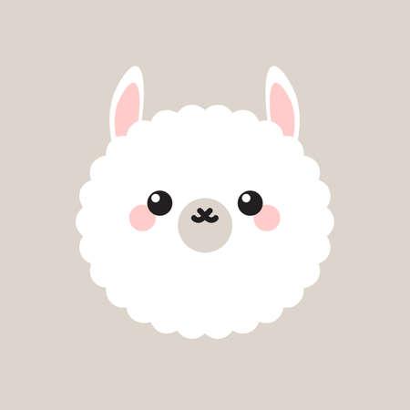 Cute lama happy face.
