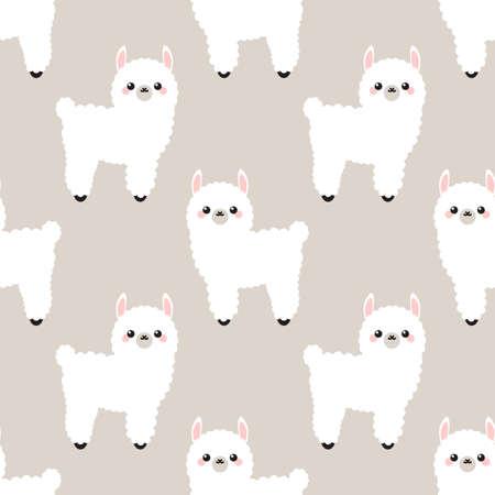 Cute lama in cartoon style Vectores