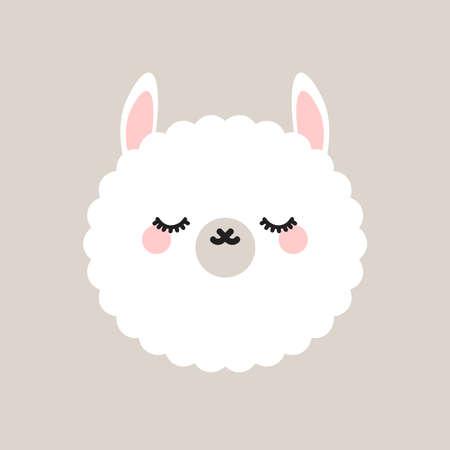 Cute lama with closed eyes.