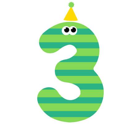 Cute happy birthday number three. Vector illustration 矢量图像
