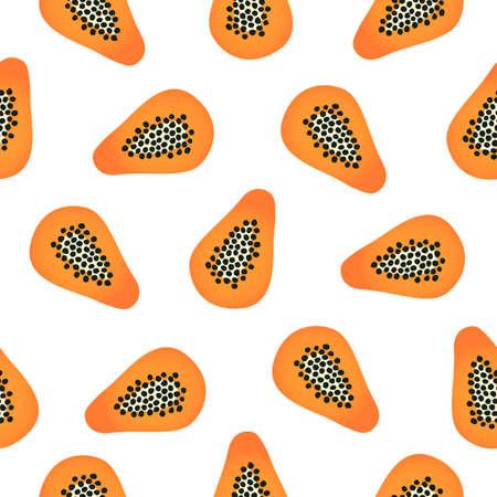 Papaya. Simple cartoon vector illustration. Seamless pattern