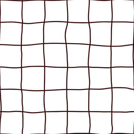 Wavy Hand Drawn Lines Square Grid. Seamless Pattern