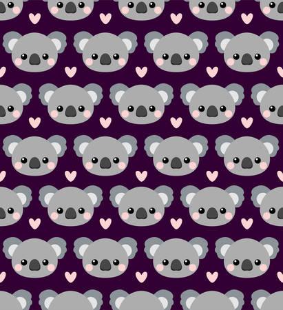 Cartoon koala and hearts. Seamless vector pattern Vectores