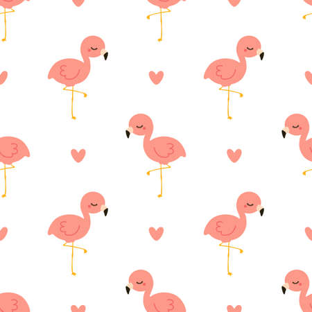Cute flamingo with heart. Seamless vector pattern