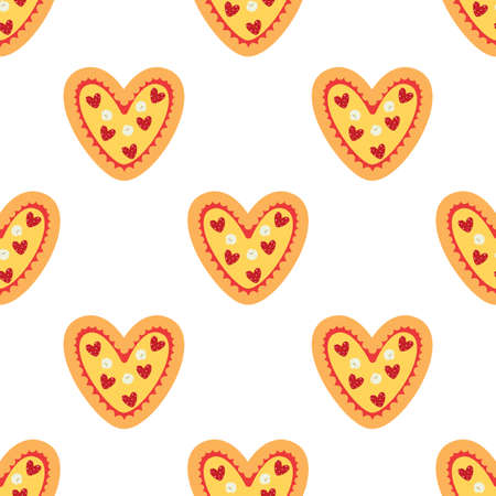 Pizza heart. Seamless vector pattern isolated on white background