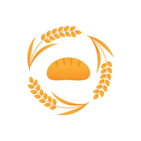 White bread logo vector icon with wheat spike
