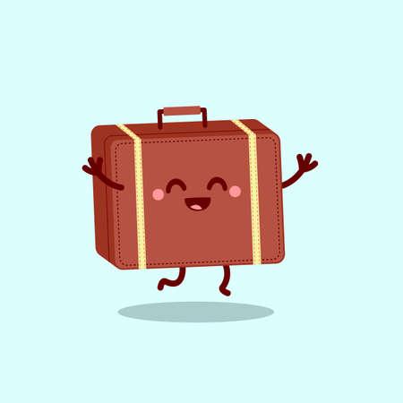 Happy travel suitcase. Cute vector cartoon illustration 矢量图像