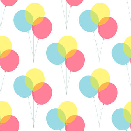 Party balloons simple vector pattern isolated on white background