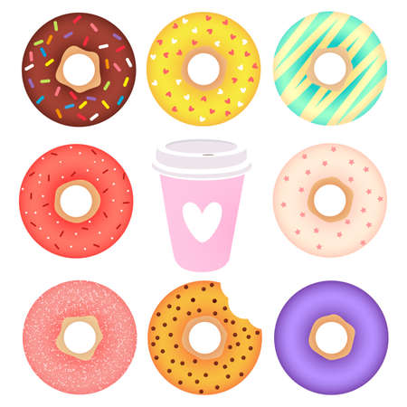 Donuts and cup of coffee set. Cartoon vector illustration