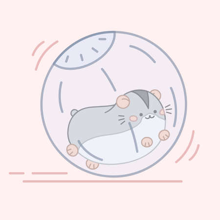 Cute little hamster running in the ball. Vector illustration 矢量图像