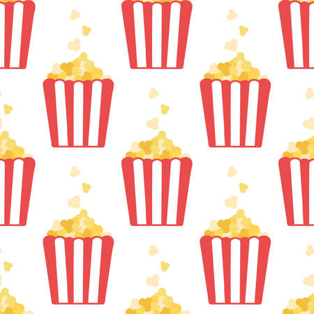 Popcorn. Seamless vector pattern in flat style isolated on white background