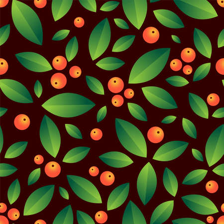 Leaves and berries beautiful seamless vector pattern