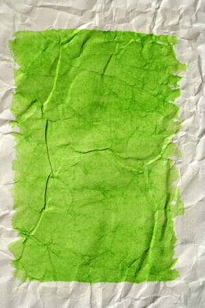 Green color framed painted crushed paper as background. Art is painted by photographer. Stock Photo - 3968474