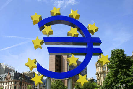 EU sign in front of European Central Bank building Stock Photo