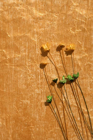 yellowish: Golden color painted crinkled paper and dried flowers as background Stock Photo