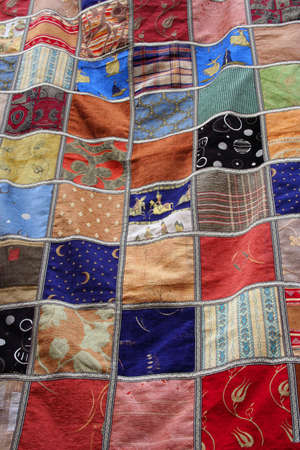 Colorful patchwork quilt blanket background