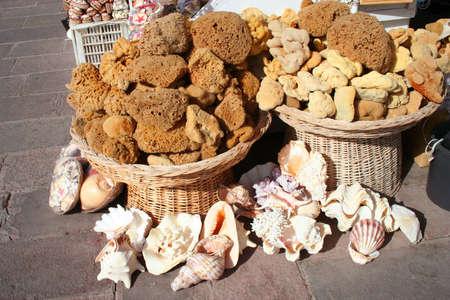 soft sell: Natural sponges on sale at street market