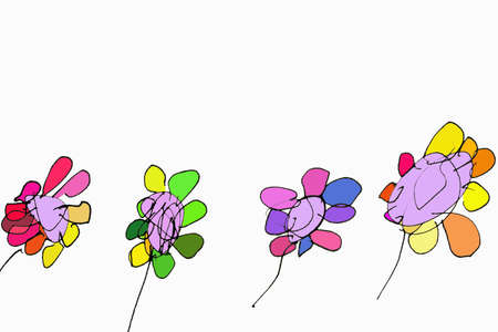 child drawn flowers Stock Photo - 4644633