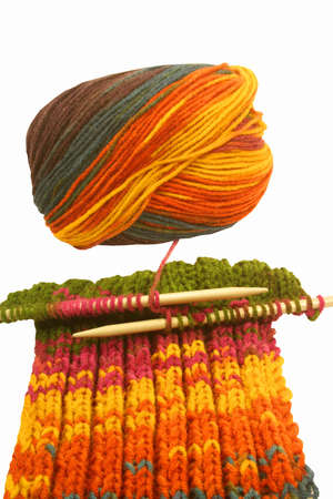 Knitting colorful wool, as hobby Stock Photo