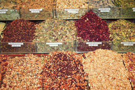 Delicious healthy natural tea on display at bazaar photo