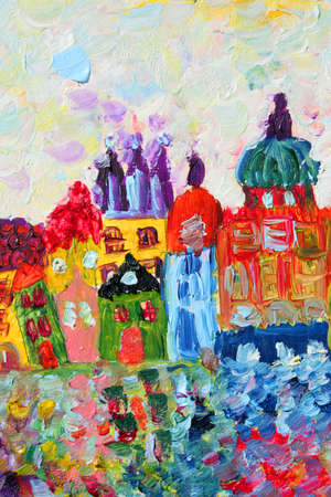 funny houses painting. Art is created and painted by photographer.  photo
