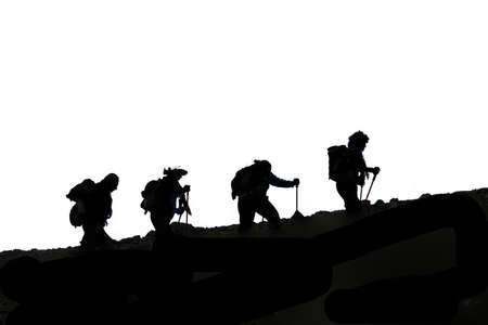 mountaineers silhouette 스톡 콘텐츠