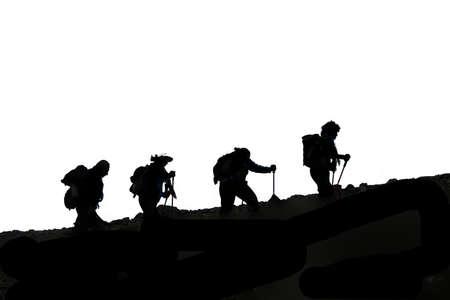 mountaineers silhouette Foto de archivo